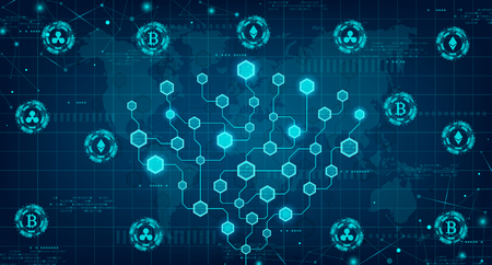 Abstract cryptocurrency and block chain concept. Modern concept of global currency in the shape of block chain vector illustration with network circuit stock exchange. Illustration
