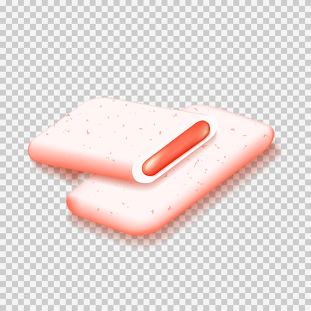 Pieces of bubble gum isolated on transparent background.  Realistic vector illustration with gum with juicy fruit taste.  イラスト・ベクター素材