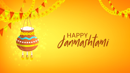 Happy Janmashtami design banner. Vector illustration with hanging yogurt pot on the festive garlands. Gretting card.