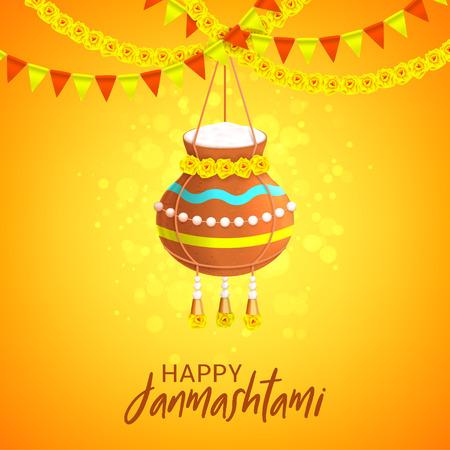 Happy Janmashtami design card. Vector illustration with hanging yogurt pot on the festive garlands. Gretting card.