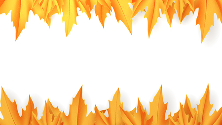 Autumn abstract vector banner. Vector illustration with falling maple leaves.