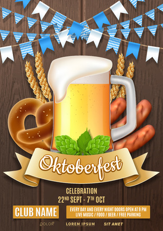 Oktoberfest party flyer template. Vector illustration with beer glass, sausages, hops and wheat on wooden texture. Invitation to nightclub.