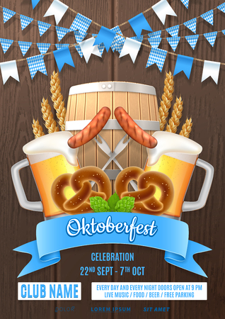 Oktoberfest party poster invite template. Vector illustration with beer glasses, sausages, hops, barrel and wheat on wooden texture. Invitation to nightclub.