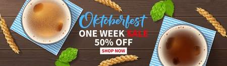 Oktoberfest sale promo web banner. Vector illustration with realistic beer glasses, traditional textile, wheat and hop on wooden texture. Seasonal offer with discount.