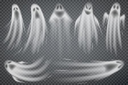 Satz realistischer Geister isoliert auf transparent. Vektorillustration von 3d Symbolen von Halloween. Vektorgrafik