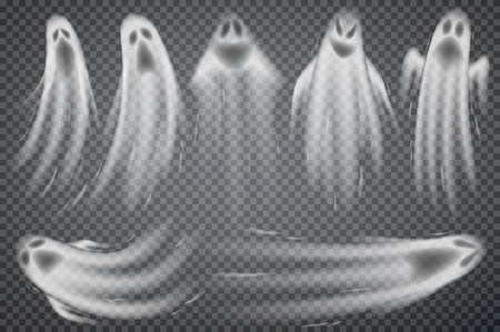 Set of realistic ghosts isolated on transparent. Vector illustration of 3d symbols of halloween.