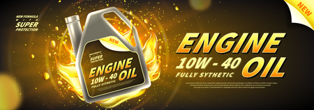 Engine oil advertisement background. Vector illustration with realistic canister and motor oil on bright background. 3d ads template. Vettoriali