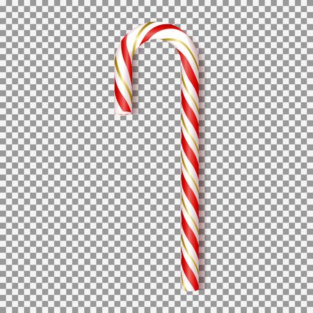 Bastoncino di zucchero realistico di Natale isolato su sfondo trasparente. Illustrazione vettoriale con dolce rosso e oro per biglietto di auguri di Natale e Capodanno.