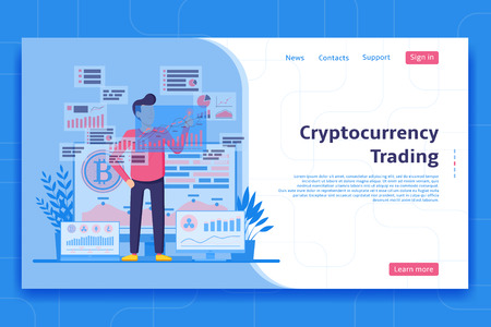 Cryptocurrency trading landing page concept. Trader works with analytic web pages with charts. Buy and sell cryptocurrency concept. Vector illustration. Ilustracja