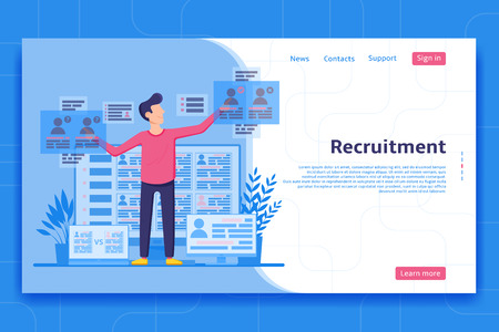 Recruitment landing page concept. Recruiter looking for personnel on the web pages. Employer choices applicants on job. Vector illustration.