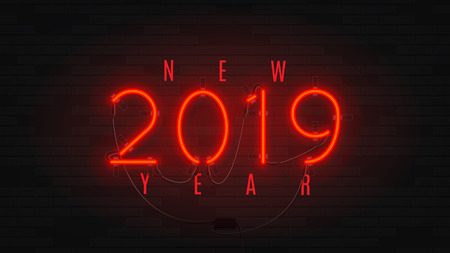 Neon web banner for Happy New Year 2019. Retro neon red bilboard on brick wall. Concept of holiday card with glowing text.