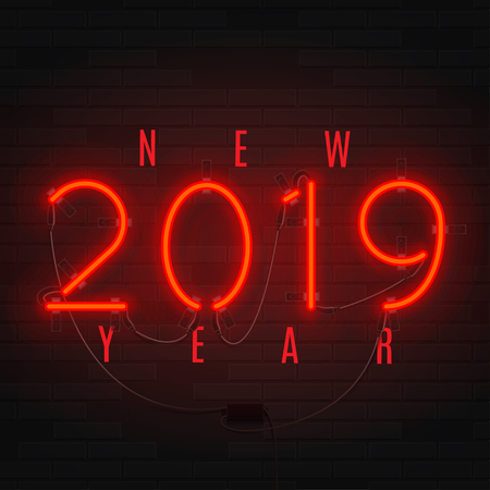 Neon card for Happy New Year 2019. Retro neon red bilboard on brick wall. Concept of holiday banner with glowing text. Vector illustration.
