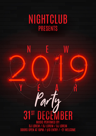 Neon poster for Happy New Year party. Retro neon red bilboard on brick wall. Concept of holiday flyer with glowing text. Vector illustration. Invite to nightclub. Ilustracja