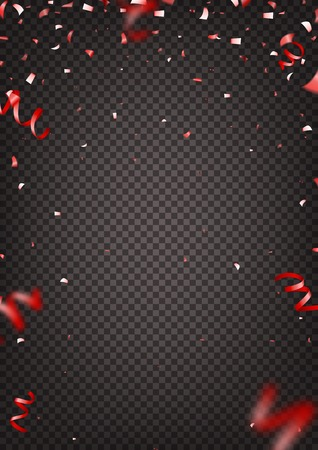 Red confetti isolated on transparent background. Vector illustration with red confetti and serpentine. Illustration