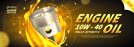 Engine oil advertisement web banner. Vector illustration with realistic pistons and motor oil on bright background. 3d ads template. Vettoriali