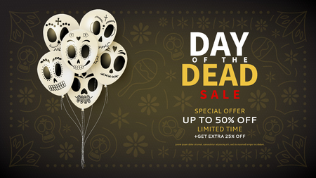 Festive web banner of Day of the Dead sale. Dark background with white balloons. Vector illustration for seasonal discount offer.