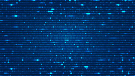 Abstract background with program computer code. Data backdrop with Blur Effect. Vector Illustration with concept of Programming. Technology Algorithm in Decryption and Encryption. Coding concept. Vektoros illusztráció