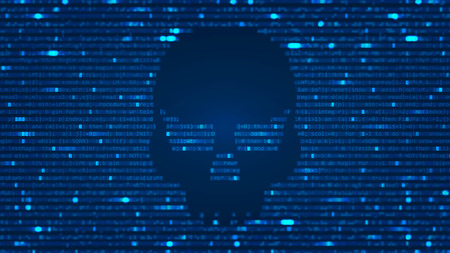 ASCII Art background with hacker skull. Data backdrop with Blur Effect with program computer code. Vector Illustration with concept of Hacking. Banner with Ddos-attack, Spam and Computer Virus Concept. Illustration