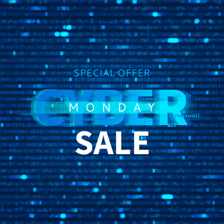 Cyber Monday sale background with program code. Promo Blur Effect banner. Vector Illustration with concept of Programming. Seasonal discount offer.