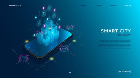 Concept van slimme stad met IoT. Digitaal hologram van slimme stad op het scherm van smartphone met Internet of things. Vectorillustratie met draadloze verbindingen van informatietechnologiepictogrammen. Vector Illustratie