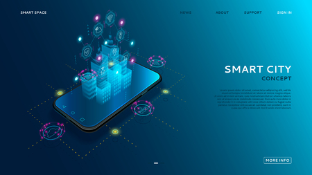 Concept of smart city with IoT. Digital hologram of smart city on the screen of smartphone with Internet of things. Vector illustration with wireless connections of information technology icons. Illustration