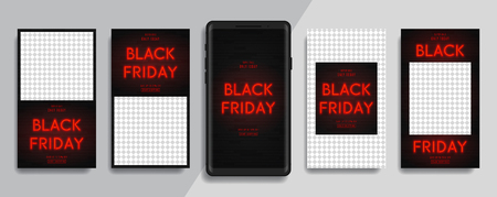 Social Media Stories for Black Friday sale. Set of editable stories for promo of brands or bloggers. Vector illustration with neon red billboard on brick wall for social media apps.