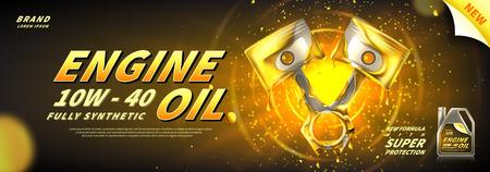 Banner de publicidad de aceite de motor. Ilustración de vector con pistones realistas y aceite de motor sobre fondo brillante. Plantilla de anuncios 3d.