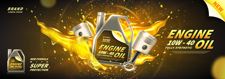 Engine oil advertisement banner. Vector illustration with realistic pistons and motor oil canister on bright background. 3d ads template.