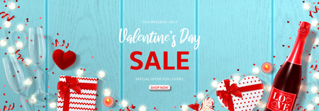 Valentine's Day holiday sale banner. Vector illustration with top view on realistic bottle of champagne, gift boxes, glasses of champagne, ring box and garlands with hearts on wooden texture. Vektoros illusztráció
