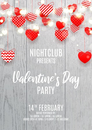 Party flyer for Happy Valentine's Day. Vector illustration with red paper garlands and glowing garlands with hearts on wooden texture. Holiday greeting banner. Invitation to nightclub.