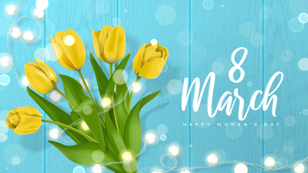 International Women's Day greeting card. Vector illustration with realistic yellow tulips flowers and glowing garland on wooden texture with effect bokeh. Greeting card for 8 March.