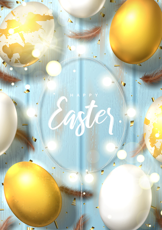 Beautiful festive flyer for Happy Easter. Beautiful banner with realistic white and gold Easter eggs, sparkling golden confetti, shining garland and chicken feathers. Holiday vector illustration.