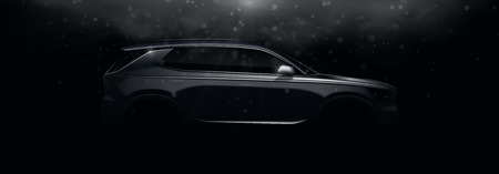 Realistic silhouette of crossover car. Vector illustration with side view on silhouettes of car isolated on black background with light beams and effect bokeh.