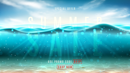Summer sale promo web banner. Vector illustration with deep underwater ocean scene. Background with realistic clouds, sea horizon and marine bottom with seashells.