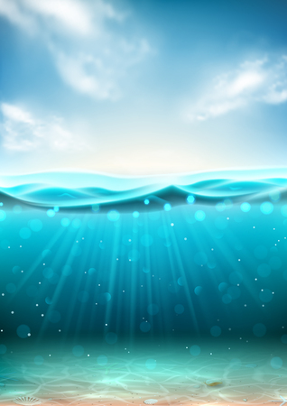 Realistic underwater sea flyer. Vector illustration. Realistic marine scene with under water sand, sun beams and seashells. Banner with horizontal water surface and clouds.