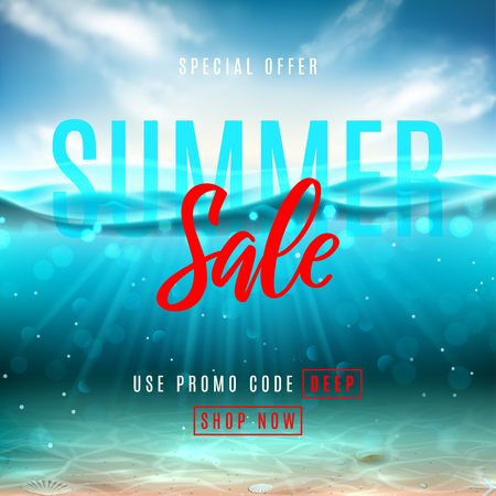 Summer sale promo banner. Vector illustration with deep underwater ocean scene. Background with realistic clouds, sea horizon and marine bottom with seashells. Illustration