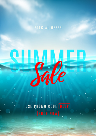 Summer sale promo flyer. Vector illustration with deep underwater ocean scene. Background with realistic clouds, sea horizon and marine bottom with seashells.
