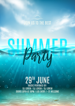 Summer party poster template. Vector illustration with underwater sea scene with seashells and waves. Background with realistic clouds and marine horizon. Invitation to nightclub.