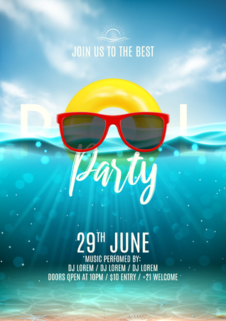 Summer pool party poster template. Vector illustration with underwater ocean scene with seashells and waves. Background with realistic clouds and marine horizon. Invitation to nightclub.