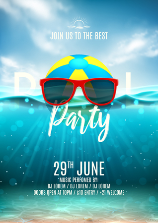 Summer pool party flyer template. Vector illustration with underwater ocean scene with seashells and waves. Background with realistic clouds and marine horizon. Invitation to nightclub. Illustration