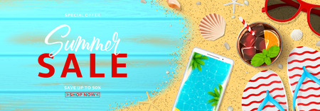 Summer sale horizontal promo banner. Top view on red sun glasses, seashells, cocktail, smartphone, flip flops and sea sand on wooden texture. Vector illustration with spesial discount offer.