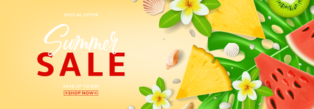 Horizontal promo banner for summer sale. Top view on Summer composition with tropical fruit and plumeria flowers. Vector illustration with discount offer.