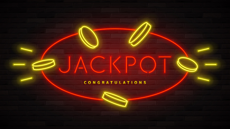 Jackpot neon banner template. Color card design with 3d glowing neon letters. Vector illustration with realistic light banner. Illustration