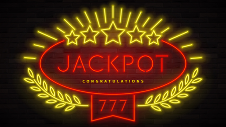 Jackpot gambling neon banner. Color card design with 3d glowing neon letters. Vector illustration with realistic light banner. Illustration