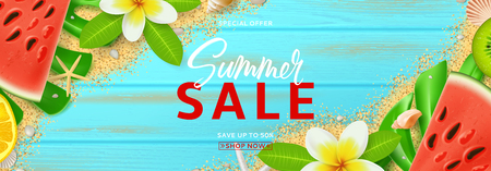 Web banner for seasonal summer sale. Top view on summer composition with tropical fruit, seashells and plumeria flowers on sea sand and blue wooden texture. Vector illustration with discount offer. Illustration