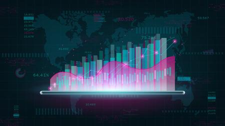 Futuristisches virtuelles Hologramm der Statistik. Abstraktes Finanzdiagramm. Konzept des digitalen Börsenhandels. Vektorillustration mit wachsenden Technologiegeschäftsdiagrammen und -diagrammen.