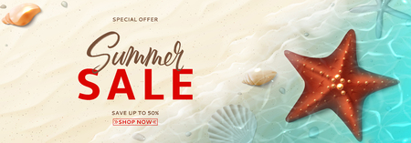 Promo web banner for summer sale. Horizontal banner with realistic seashells and starfishes on beach in sea water. Vector illustration with special discount offer. Illustration