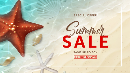 Summer sale banner template. Holiday background with realistic seashells and starfishes on beach in sea water. Vector illustration with special discount offer.