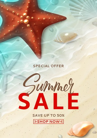 Summer sale flyer template. Holiday background with realistic seashells and starfishes on beach in sea water. Vector illustration with special discount offer. Illustration
