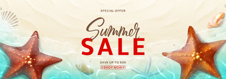 Summer sale promo banner. Horizontal banner with realistic seashells and starfishes on beach in sea water. Vector illustration with spesial discount offer.